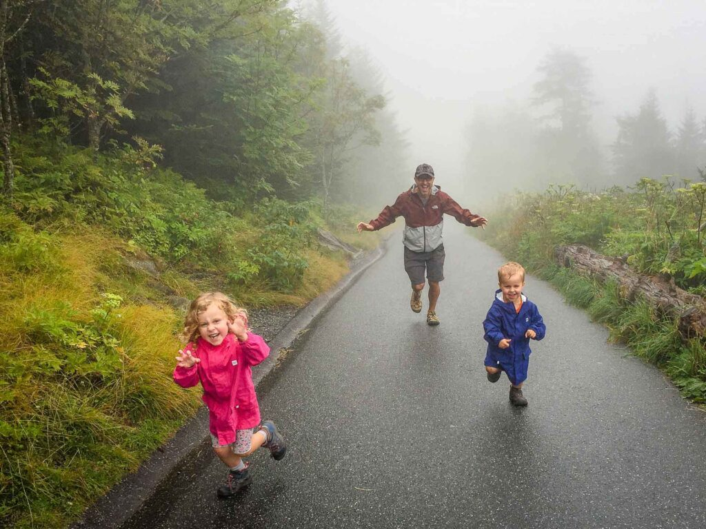 Clingmans Dome in Great Smoky Mountains NP with a toddler