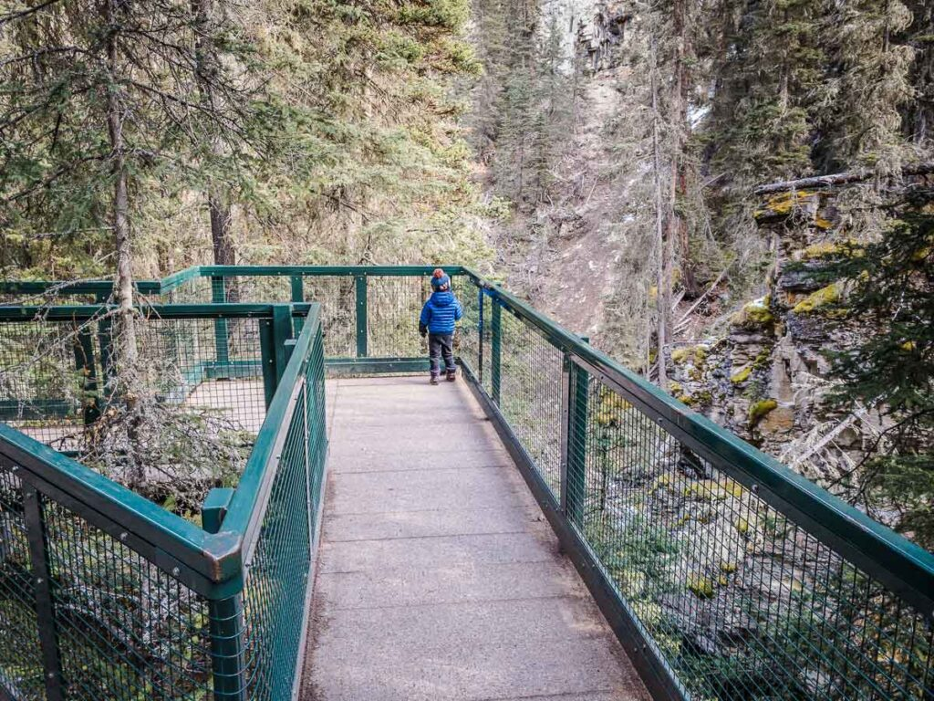 hiking Johnston Canyon in Banff with a toddler