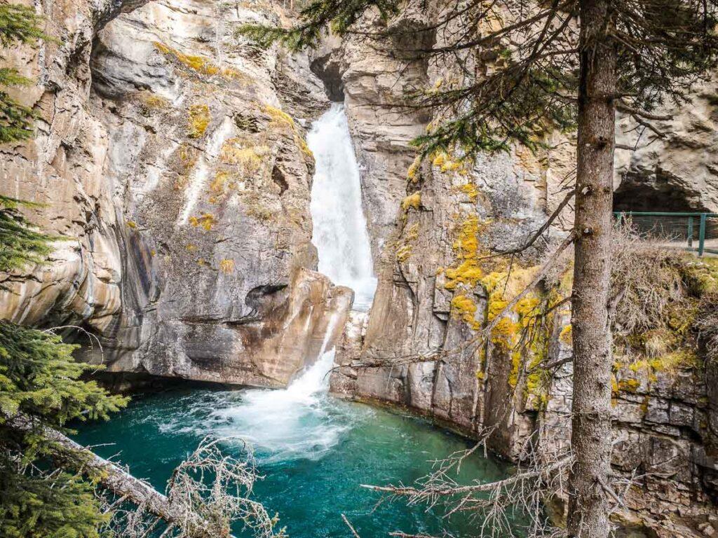 Water falls at Johnston Canyon in Banff National Park