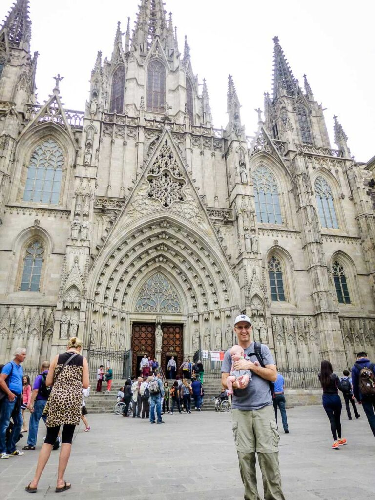 visiting La Catedral in Barcelona with baby
