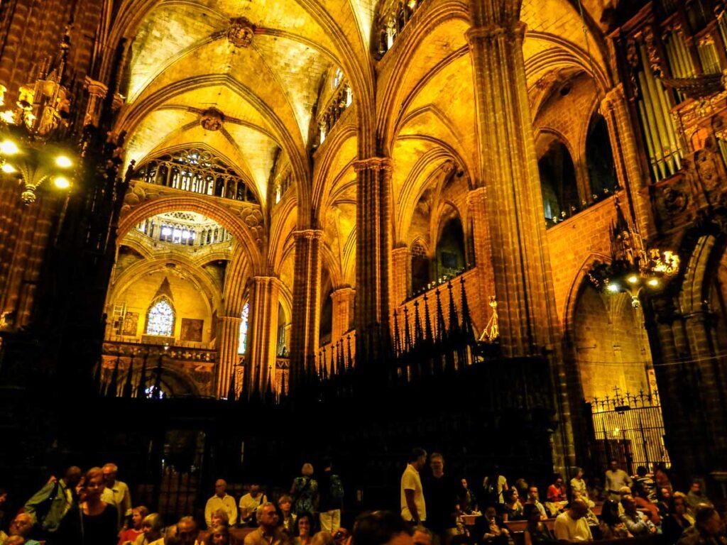 interior of La Catedral in Barcelona