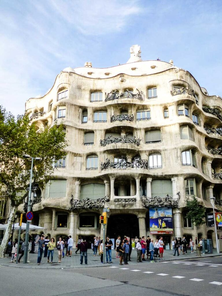 exterior of La Pedrera in Barcelona Spain with a baby or toddler
