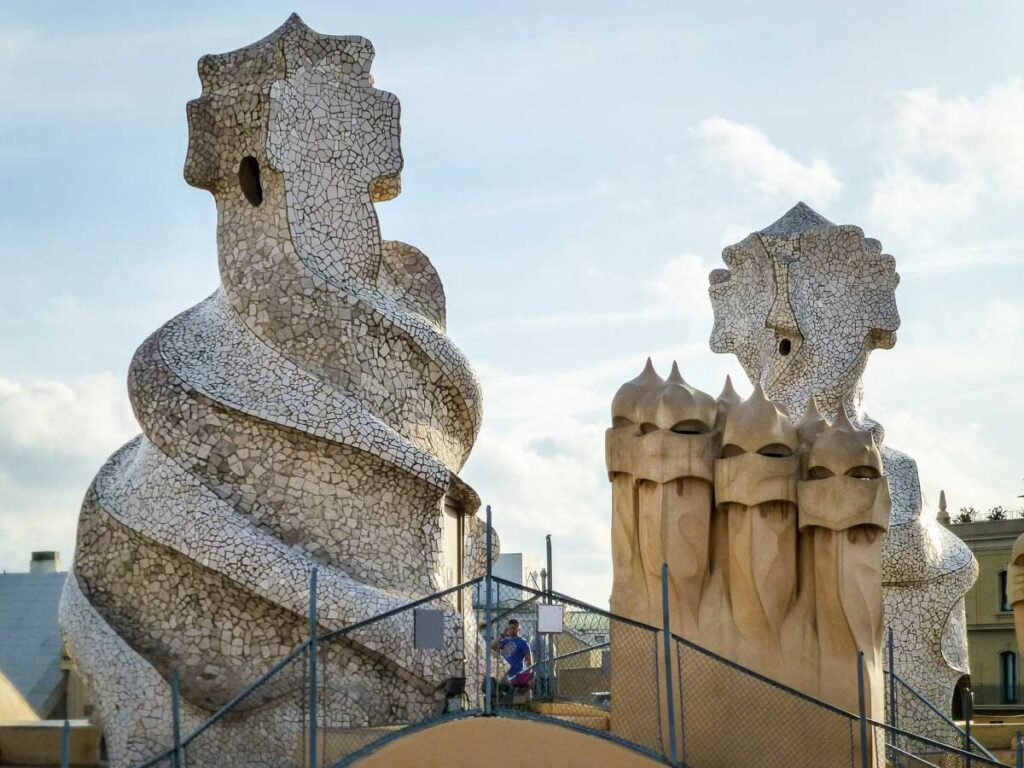Visiting the rooftop of La Pedrera with a baby or toddler