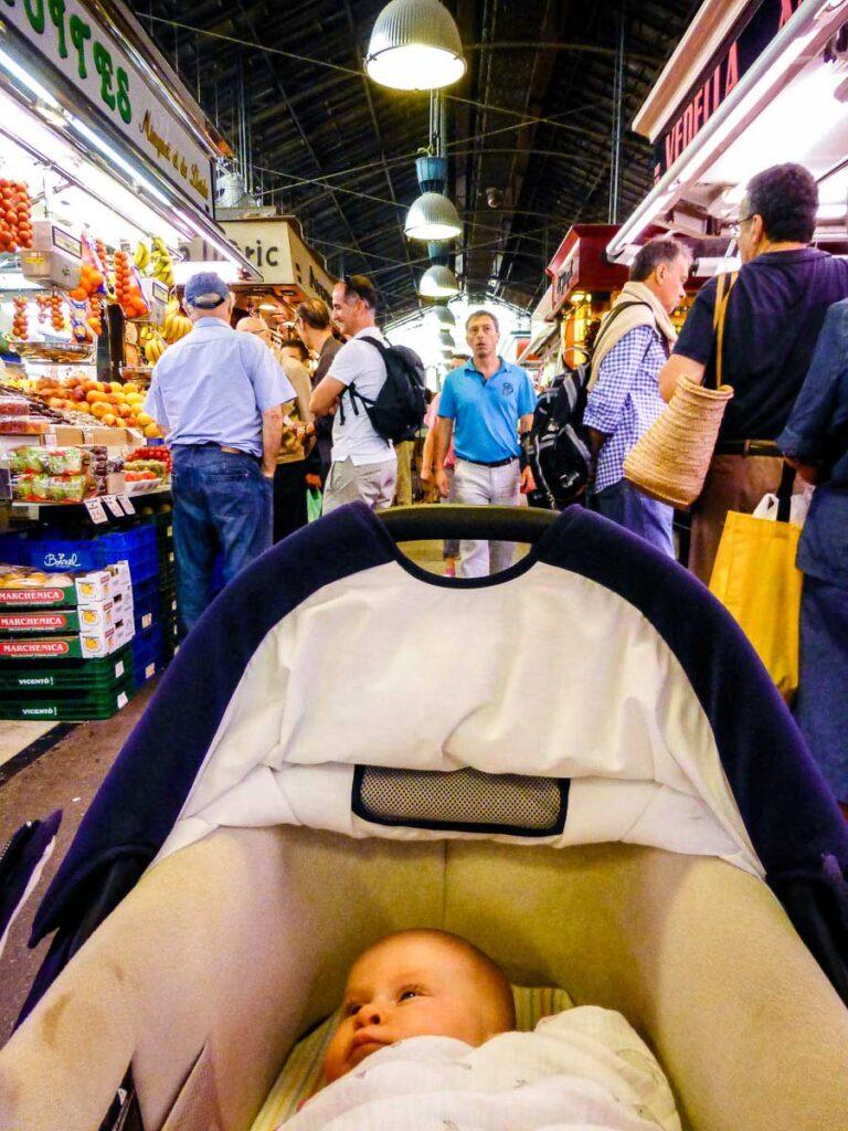 Mercat de la Boqueria in Barcelona with baby