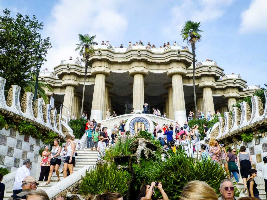 Monumental Area of Park Guell in Barcelona with baby