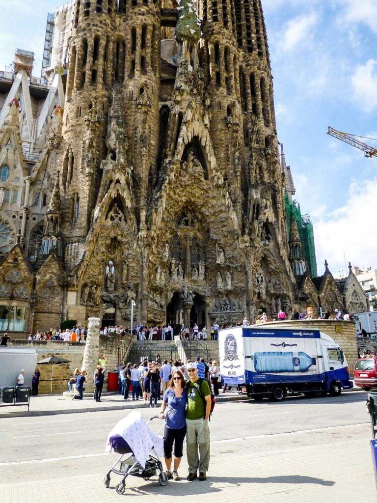 visiting Sagrada Familia with a stroller in Barcelona
