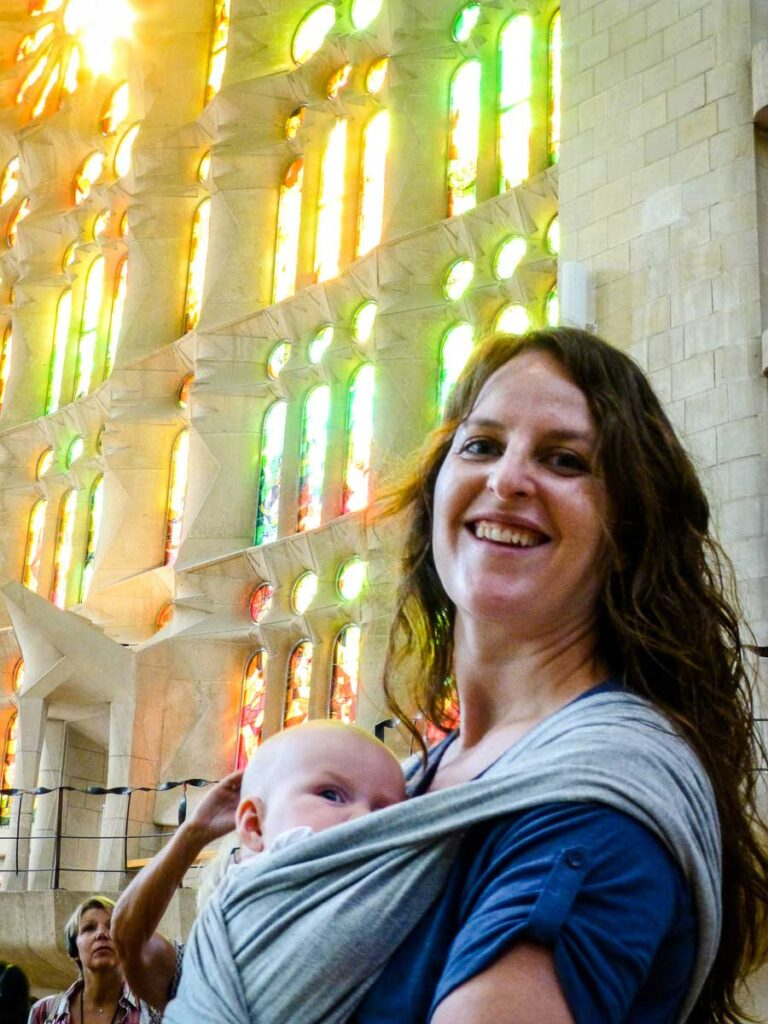 Visiting Sagrada Familia with a Baby in a baby carrier