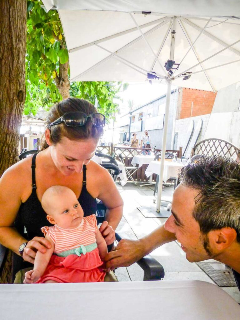 eating at restaurant in Barcelona with a baby