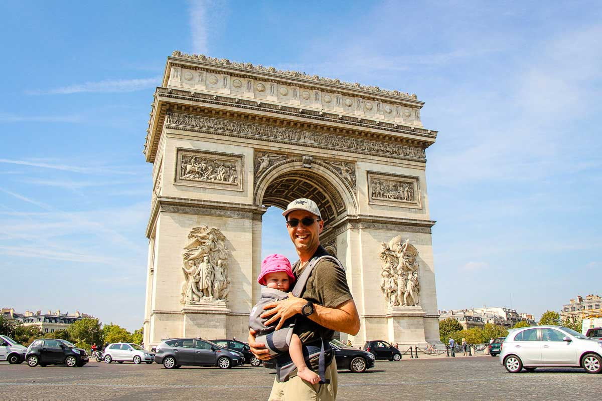 Arc de Triomphe in Paris with baby in carrier