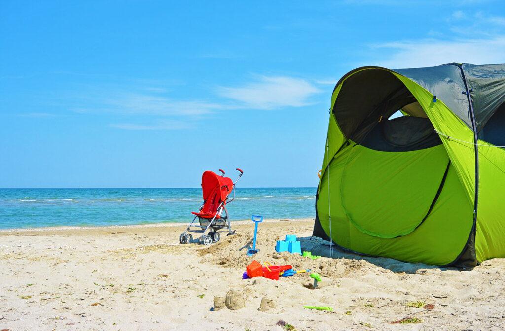 beach with all baby beach essentials