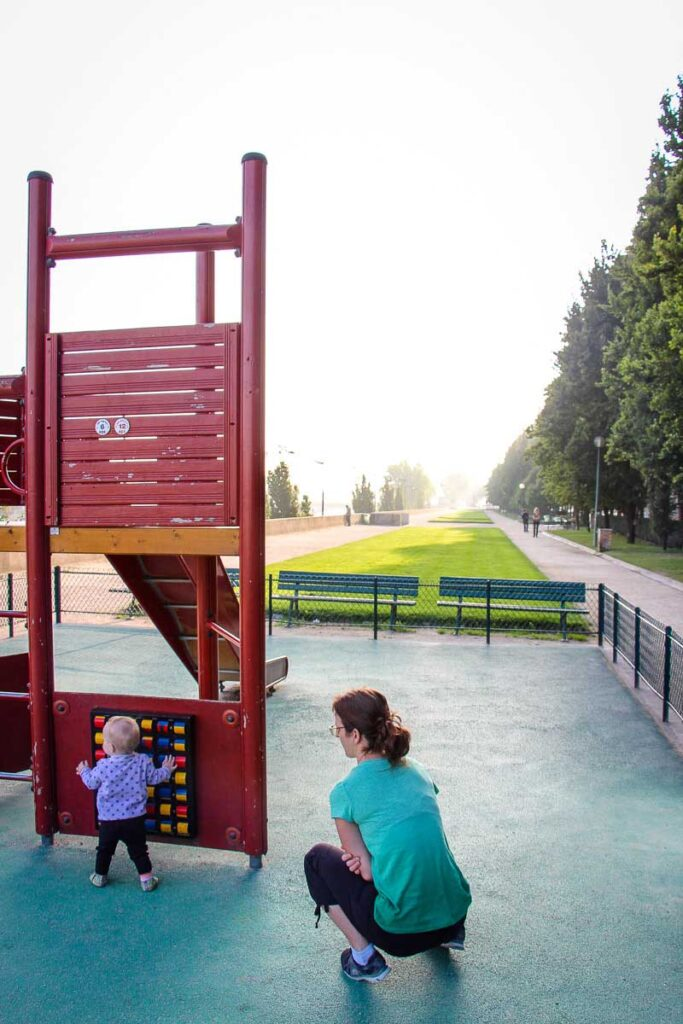 playground in Paris along La Seine with a toddler