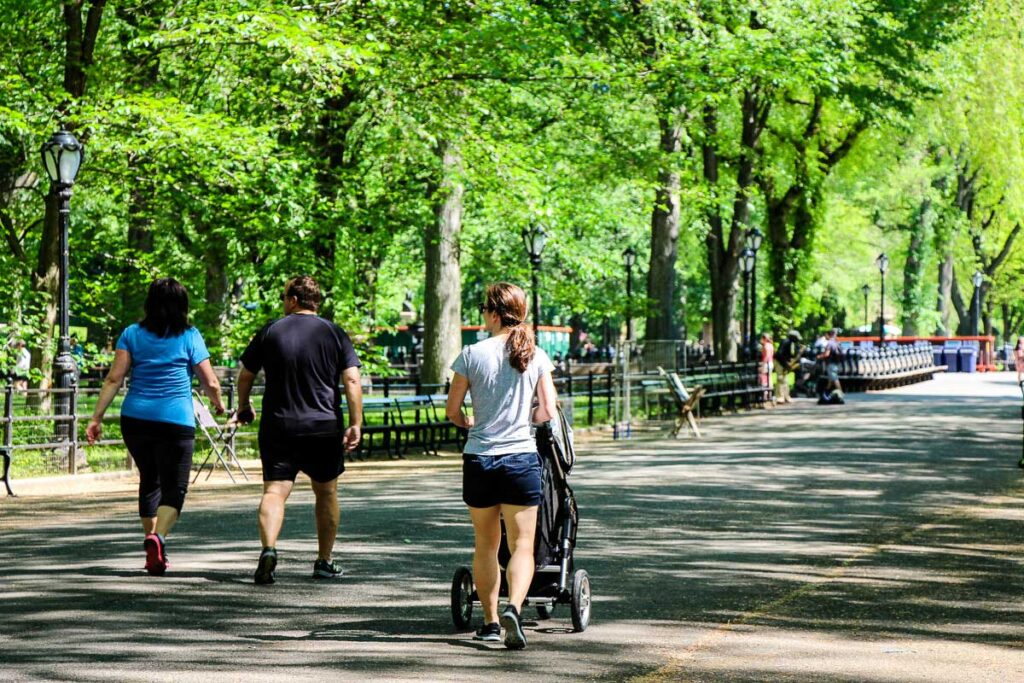 walking through central park with stroller