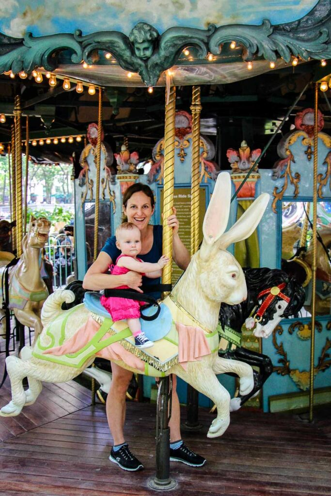 Carousel in Bryant park - things to do in nyc with a baby