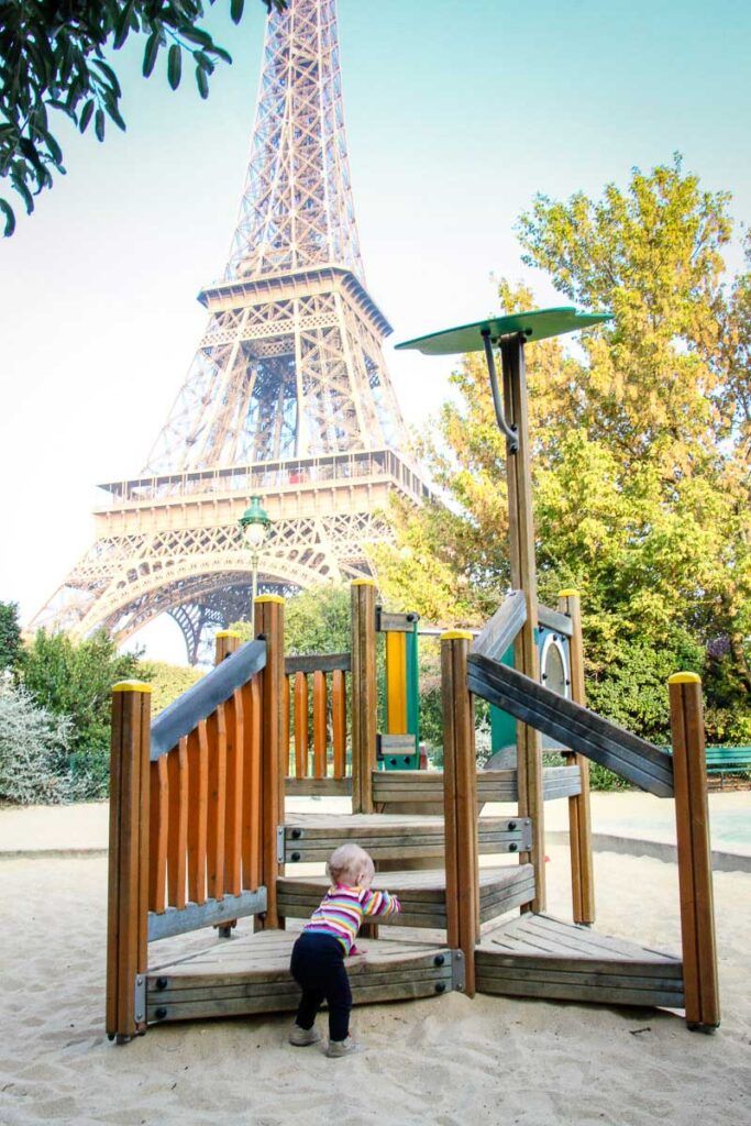 Eiffel Tower playground in paris