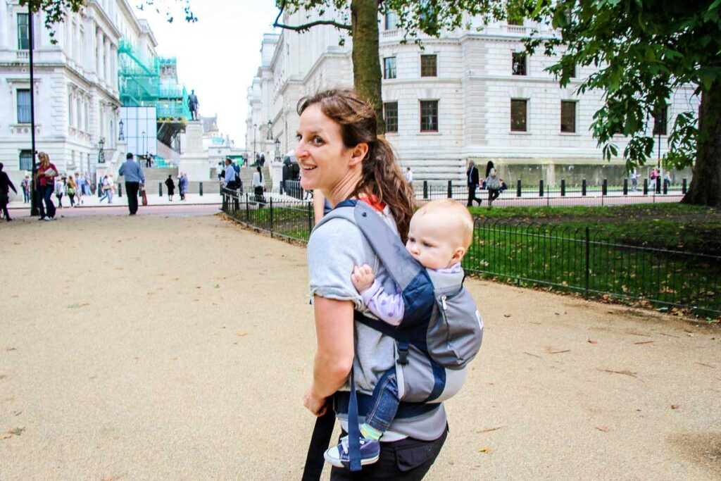 using a baby carrier in London with a baby
