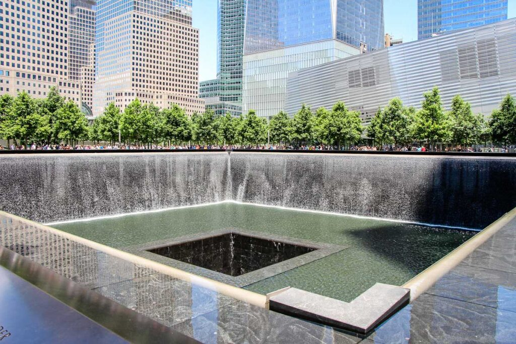 911 Memorial Pools in NYC with a baby