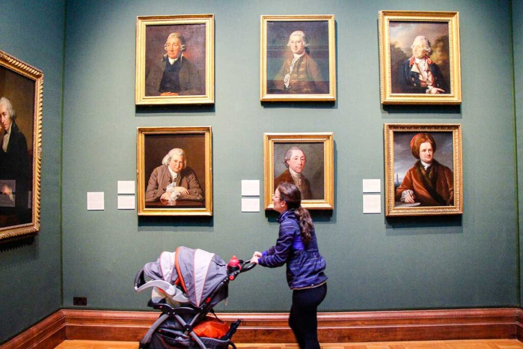 National Portrait Gallery in London with a stroller