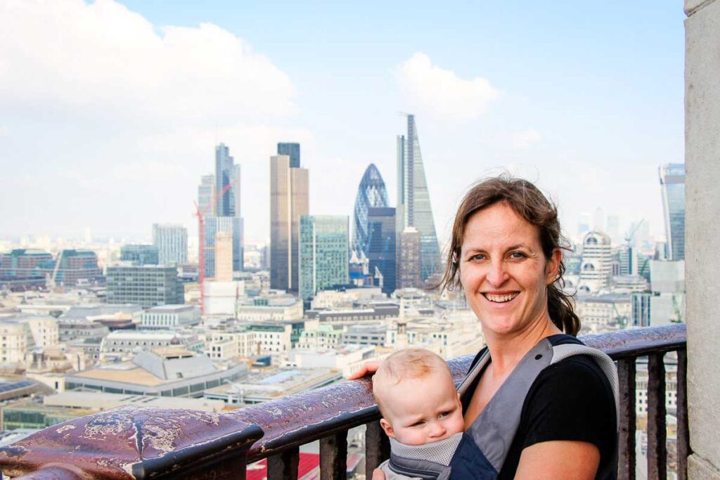 View from the Galleries of St Pauls Cathedral in London with a baby