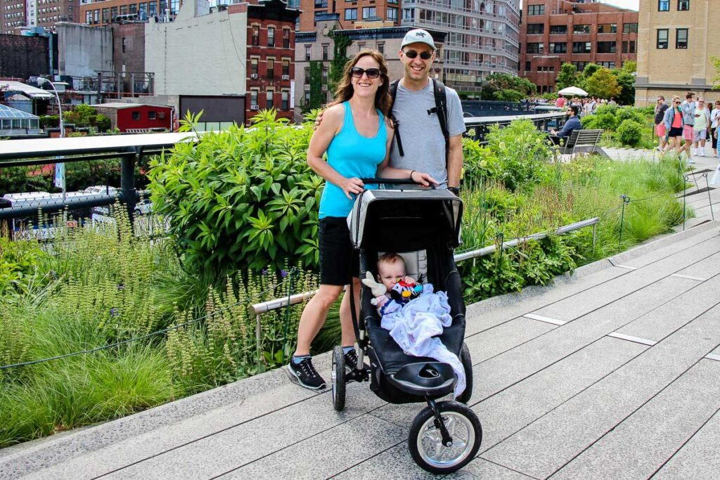 Walking the High Line in NYC with a stroller