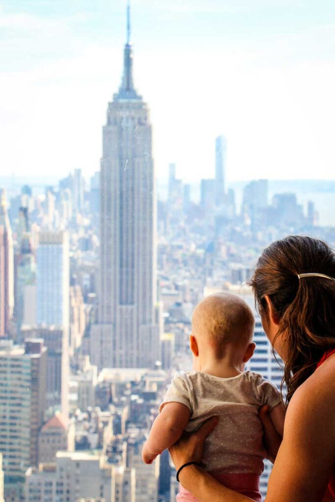 Top of the Rock Observation deck in New York City with a Baby