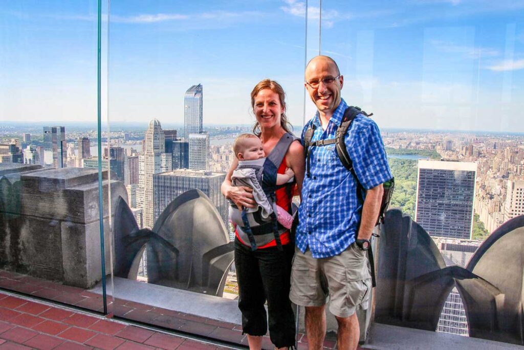 Top of the Rock Observation deck with a baby in baby carrier