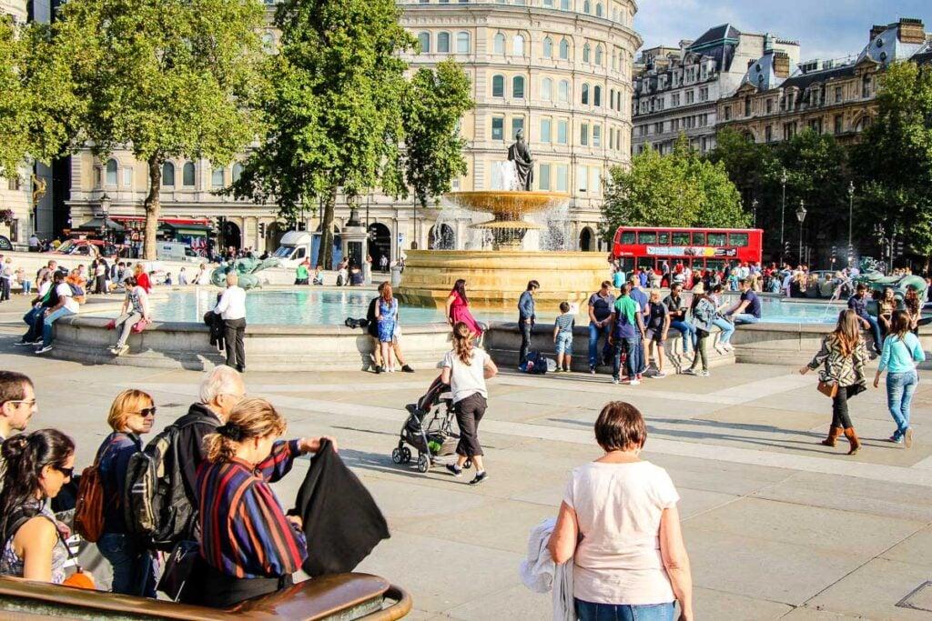 Trafalgar Square in London with stroller