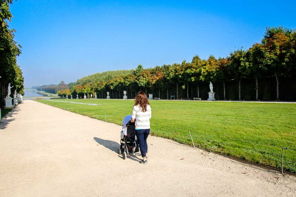 Walking gardens of Versailles with a stroller