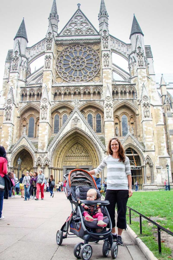 Visiting Westminster Abbey in London with a toddler in stroller