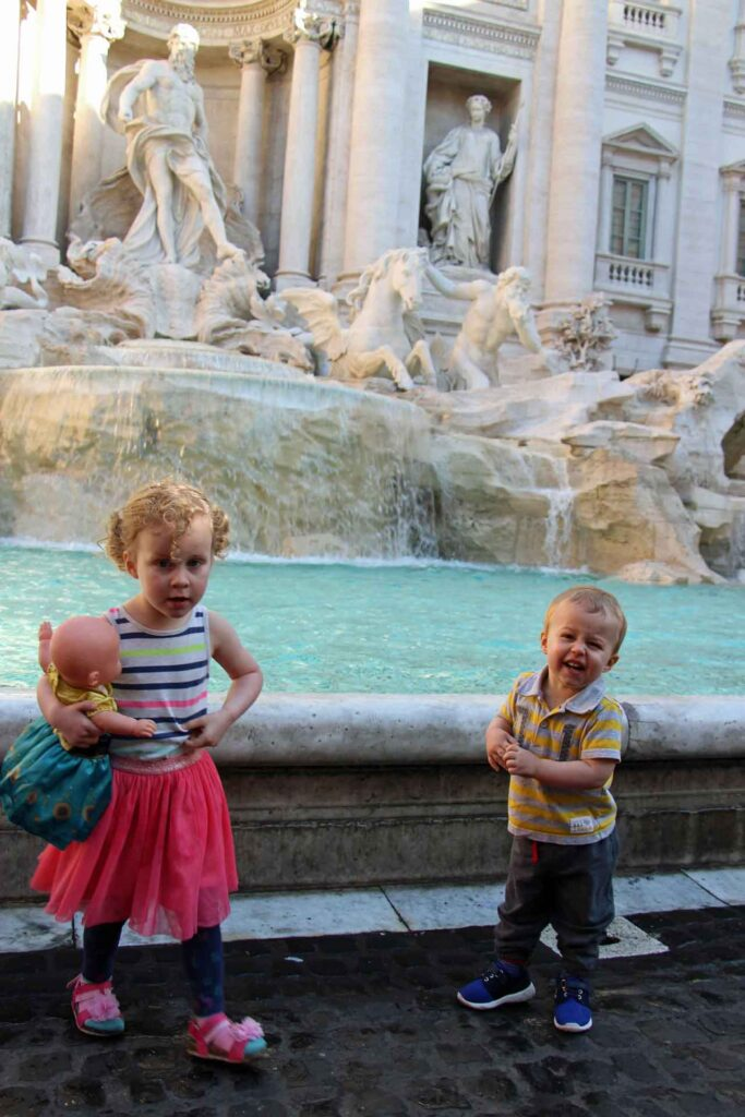 When visiting Rome with a toddler, get to the Trevi Fountain really early to give them a chance to get close enough to stick their hands in the water