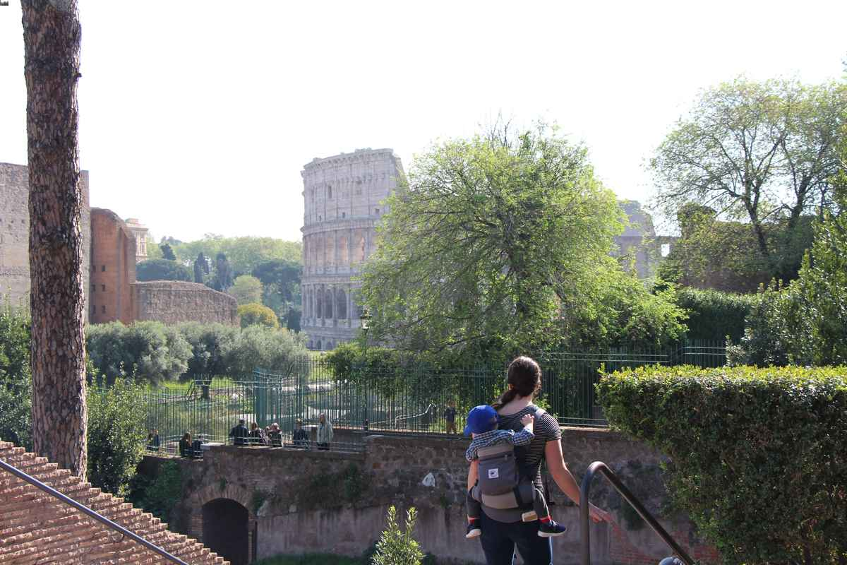We used baby carriers at the Rome Forum and Colosseum. Strollers are allowed, but would be difficult with the crowds