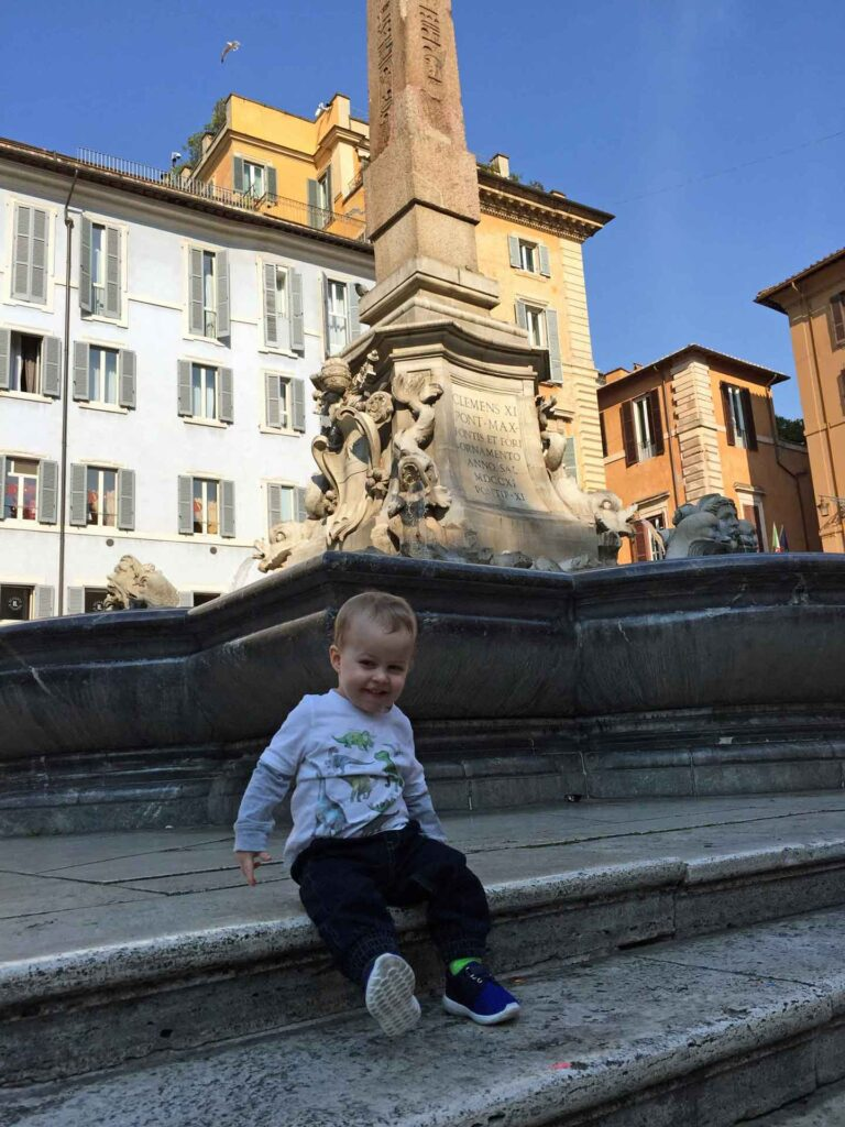Running around fountains are one of the fun things to do in Rome with toddlers
