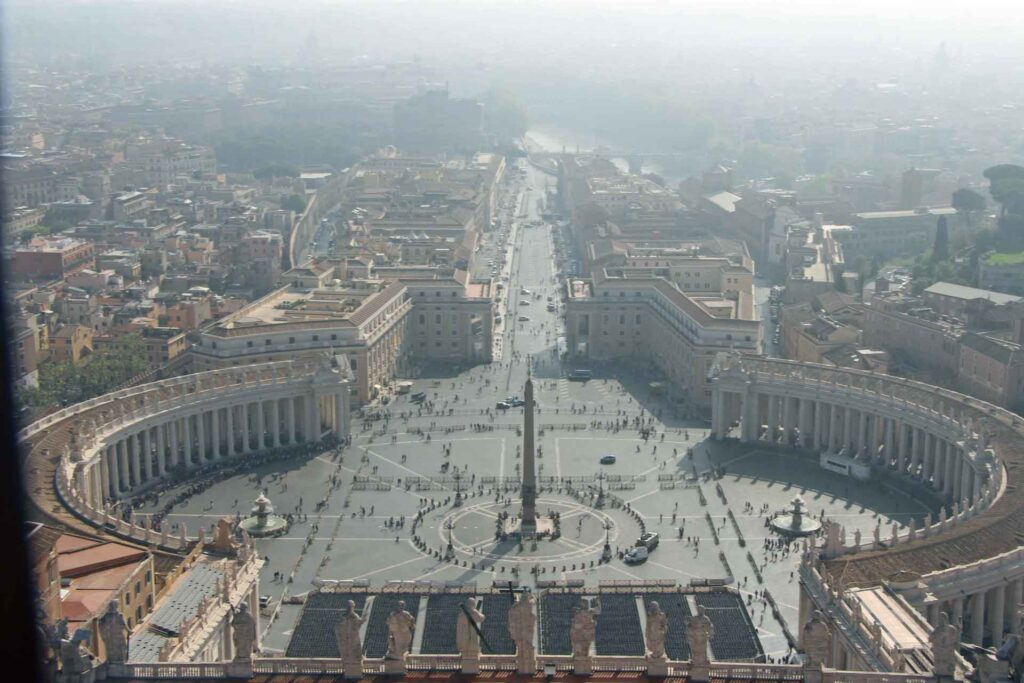 We climbed the dome at St. Peters in Rome with our toddler. The view of St. Peters Square was amazing