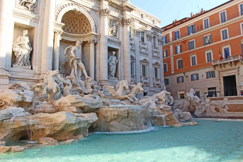 To visit the Trevi fountain with a baby or toddler, we recommend using a carrier instead of a stroller. The crowds will be too thick to safely use a stroller