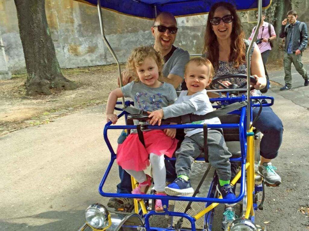 Our 4-seater Surrey bike rental in Villa Borghese Gardens was a ton of fun!