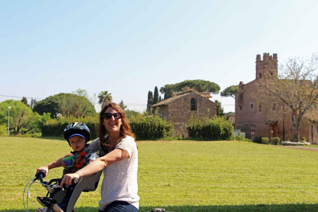 A fun activity in Rome with a toddler is to rent bikes with child seats and a helmet and explore the Appian Way