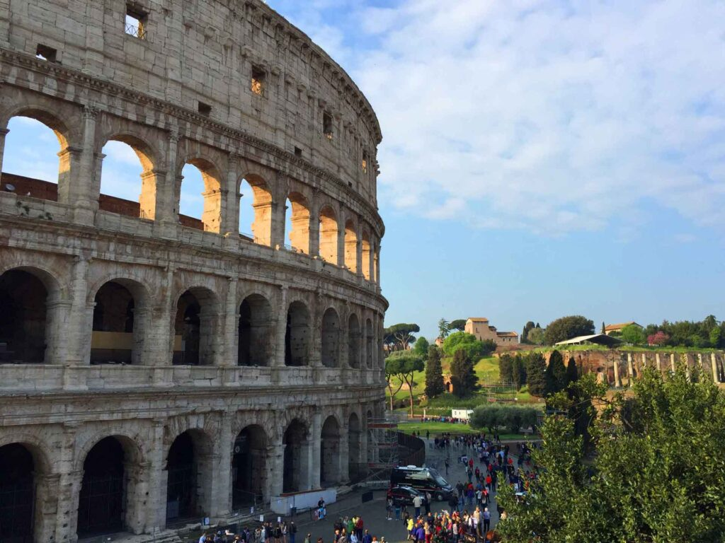 When visiting the Rome Colosseum with a baby or toddler, try to arrive as early as possible to avoid the crowds