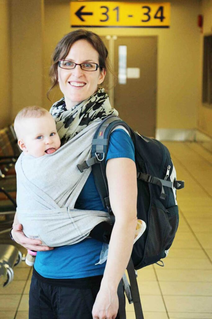 Stroller or baby carrier in airport