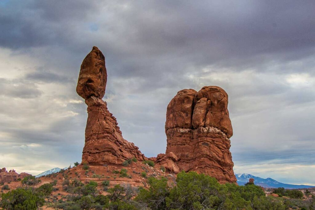 Balanced Rock in Arches National Park with toddler
