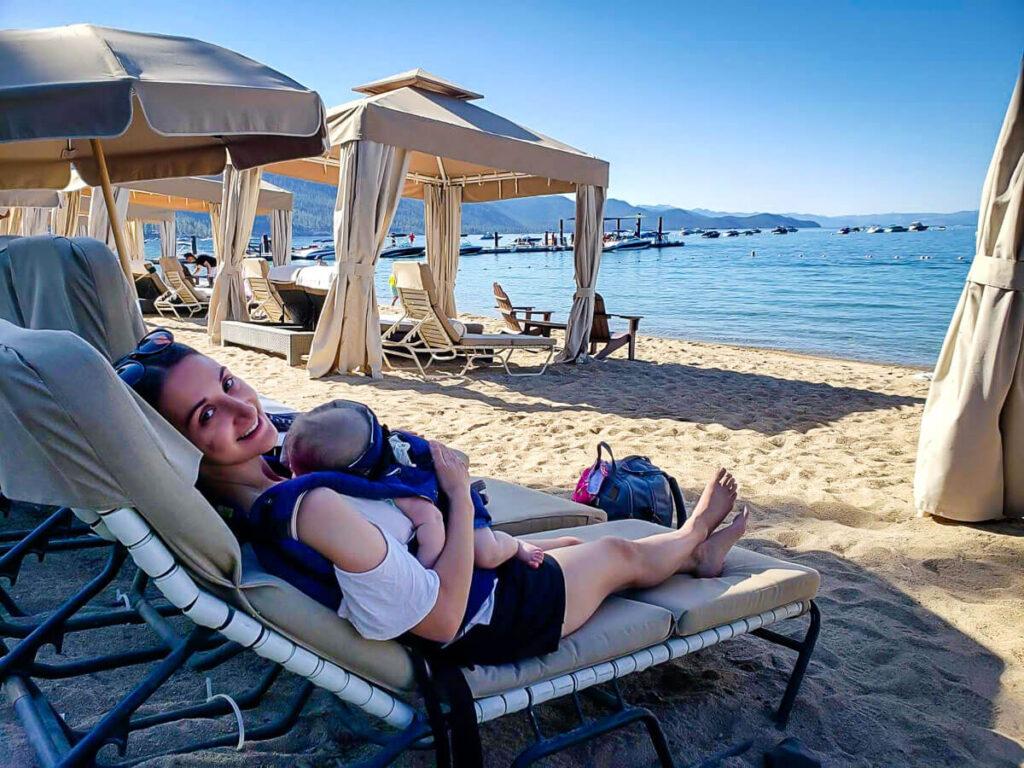 Beach at Hyatt Regency while on Lake Tahoe Family Vacation
