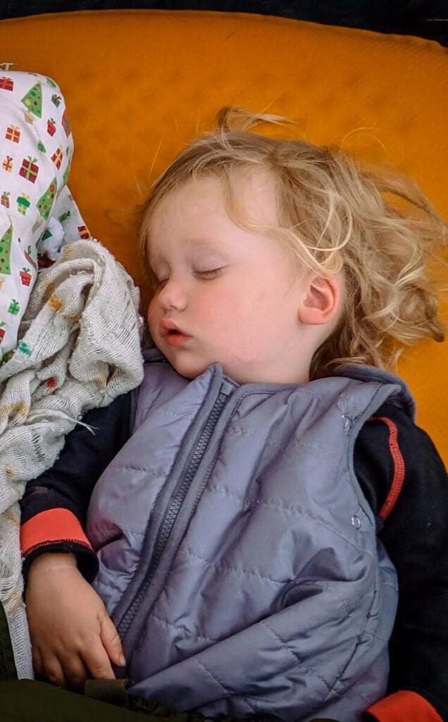 getting toddler to sleep camping - wearing sleeping bag for toddler from Baby Deedee