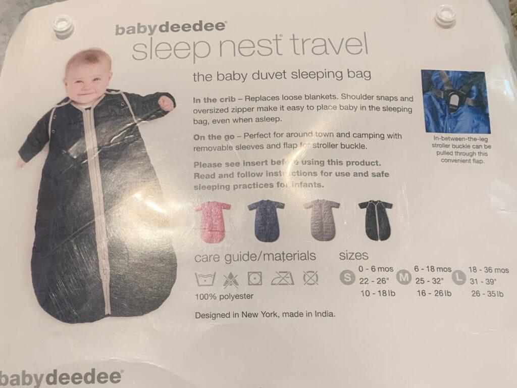 Baby Deedee packaging - baby sleep sack for camping