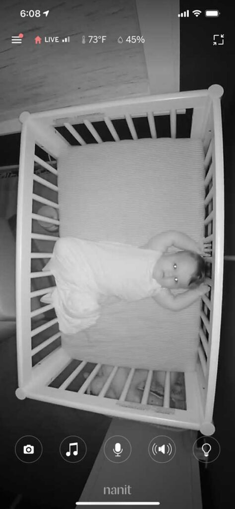 View of Baby in Crib from Nanit Pro Baby Monitor